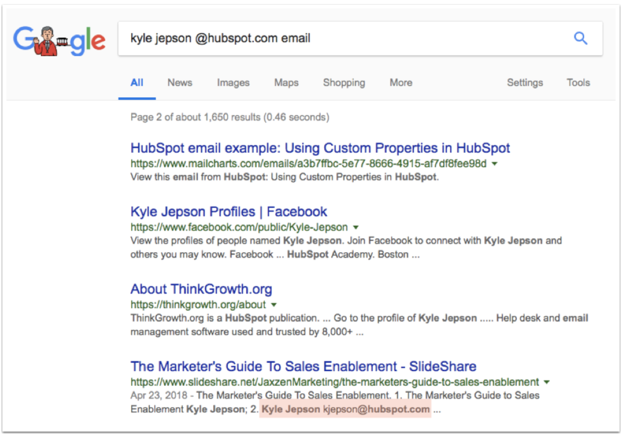 Finding and email address using Google Search