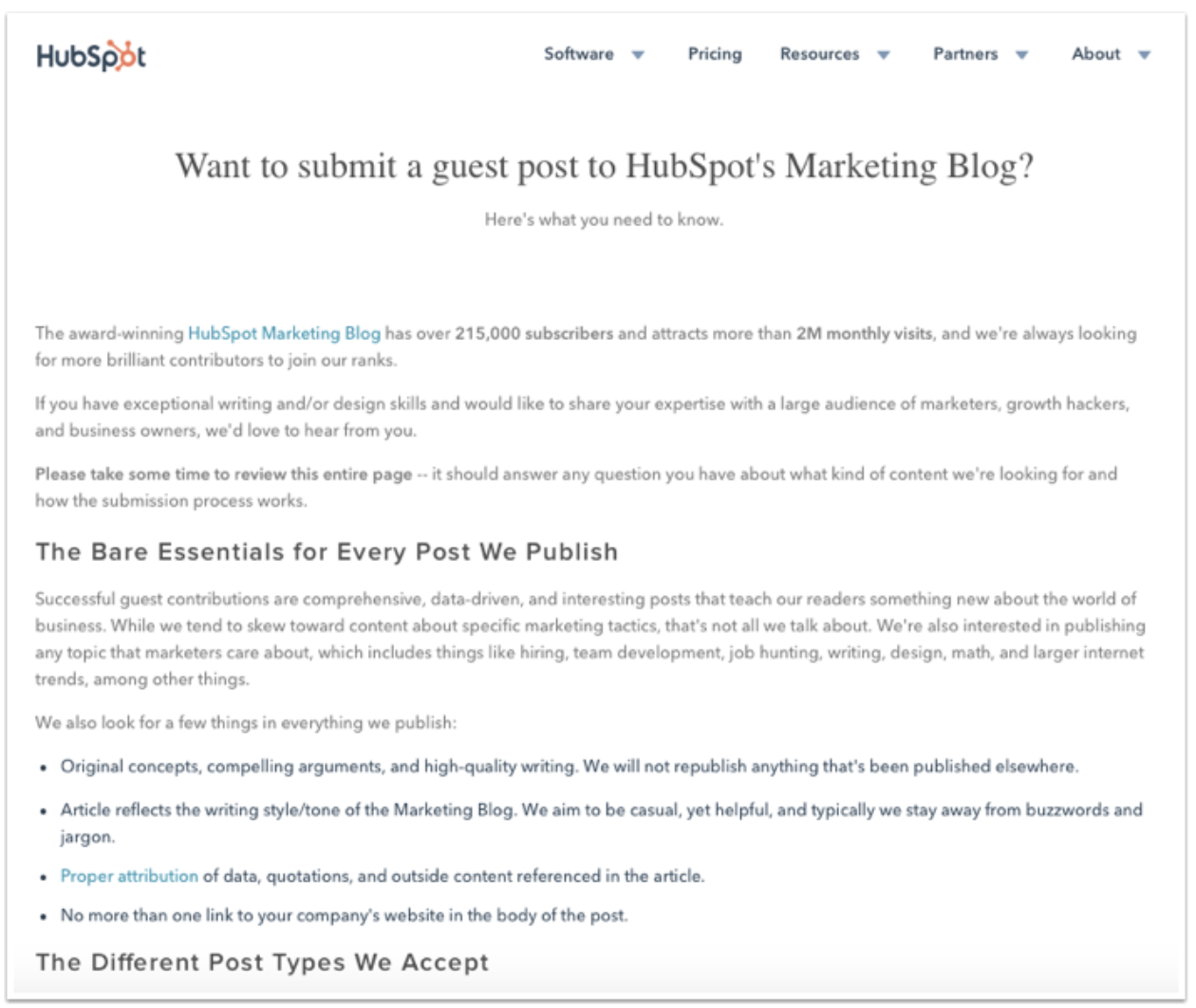 HubSpot's Guest Blogging Guidelines