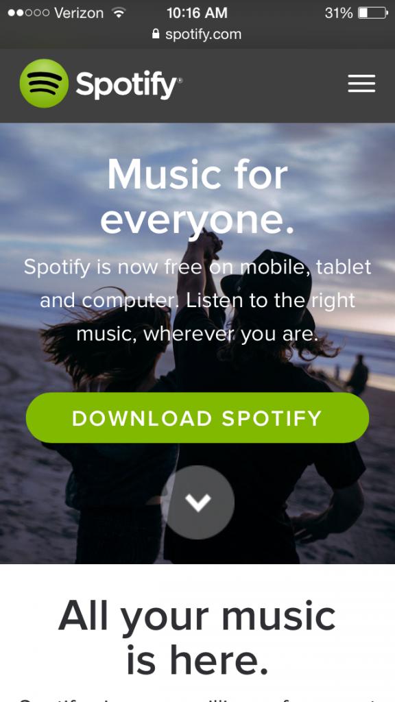 Modern Web Design - Spotify Mobile