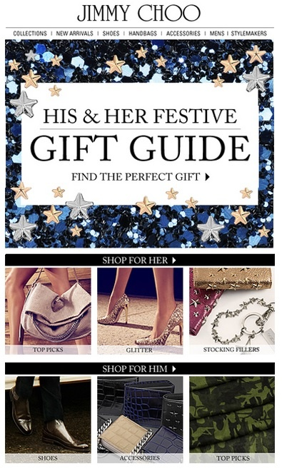holiday gift guide for email marketing ideas