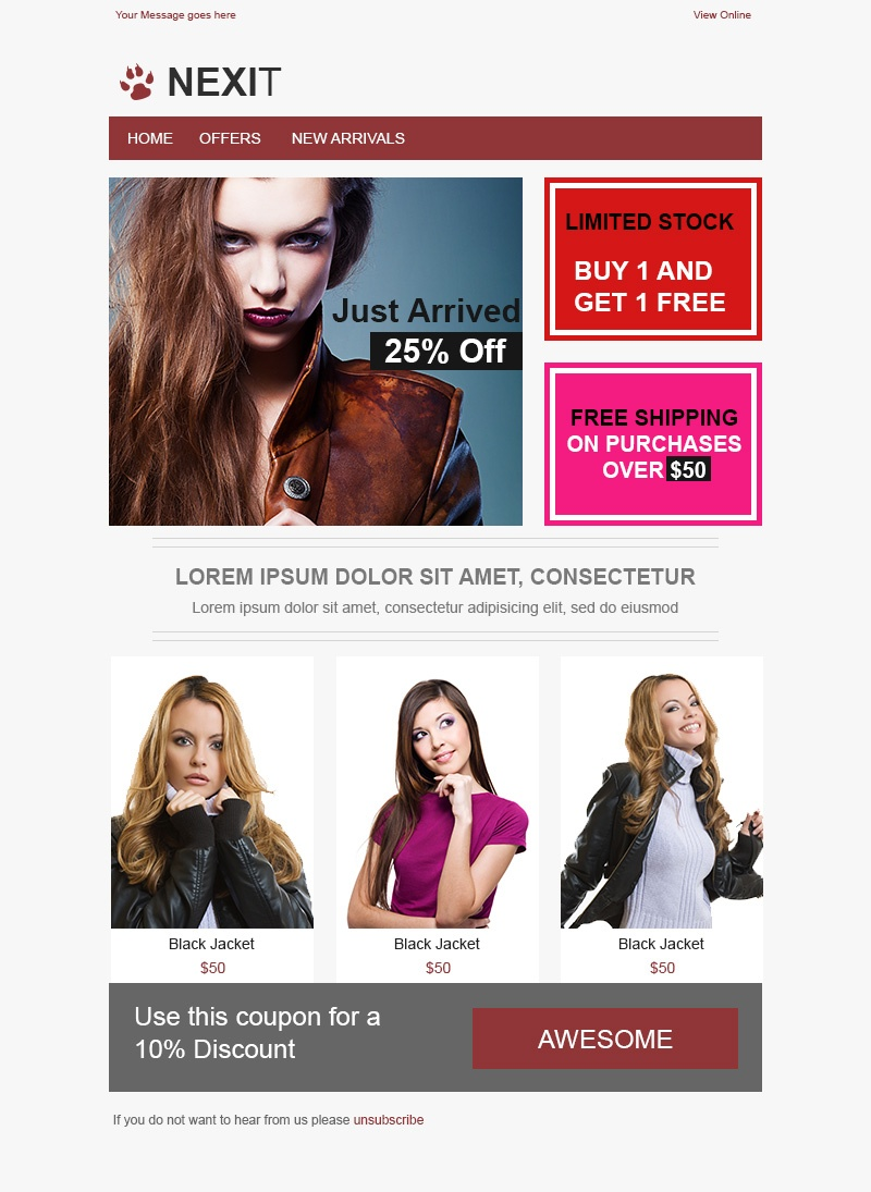 Nexit - Free HTML Email Template